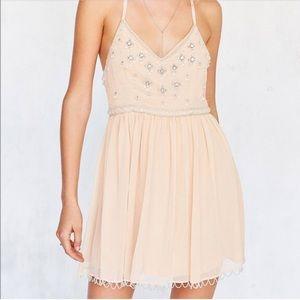 Beautiful peach chiffon beaded mini dress